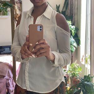 White Button Down Blouse (shoulder cut out)